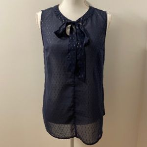 Navy Blue Tie Tank Top-Small